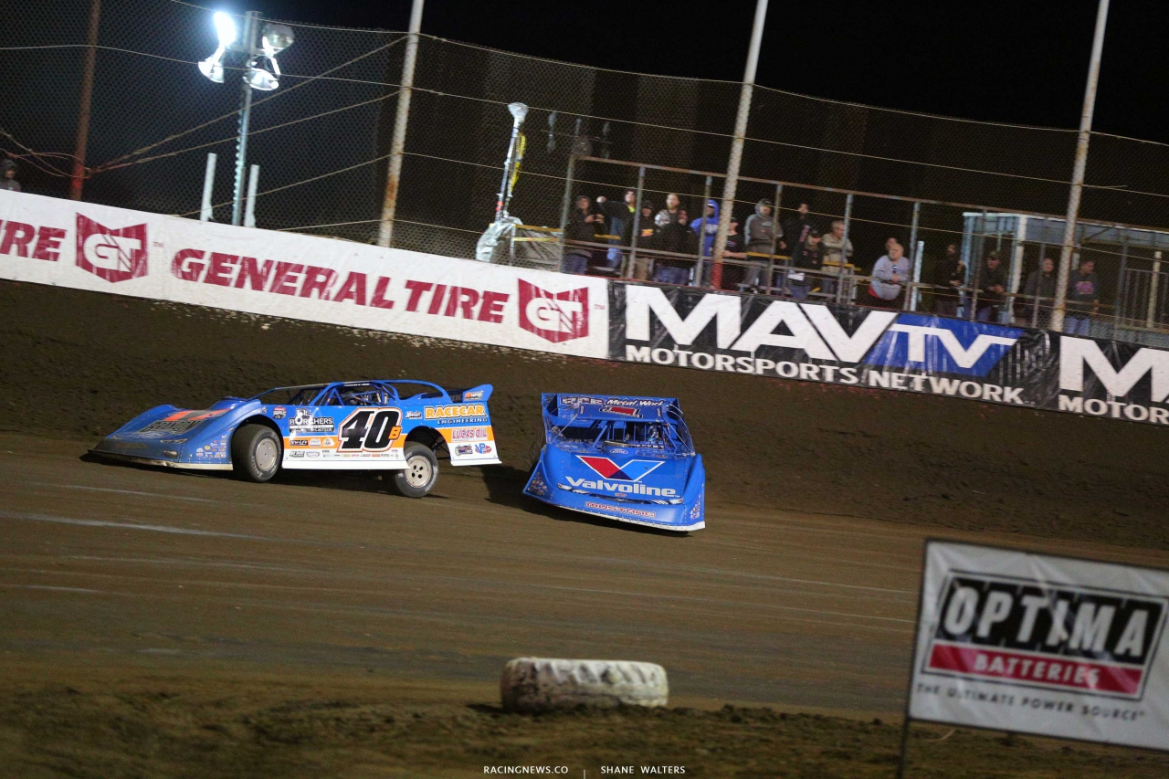 Kyle Bronson and Brandon Sheppard at East Bay Raceway Park - Dirt Late Models 3754