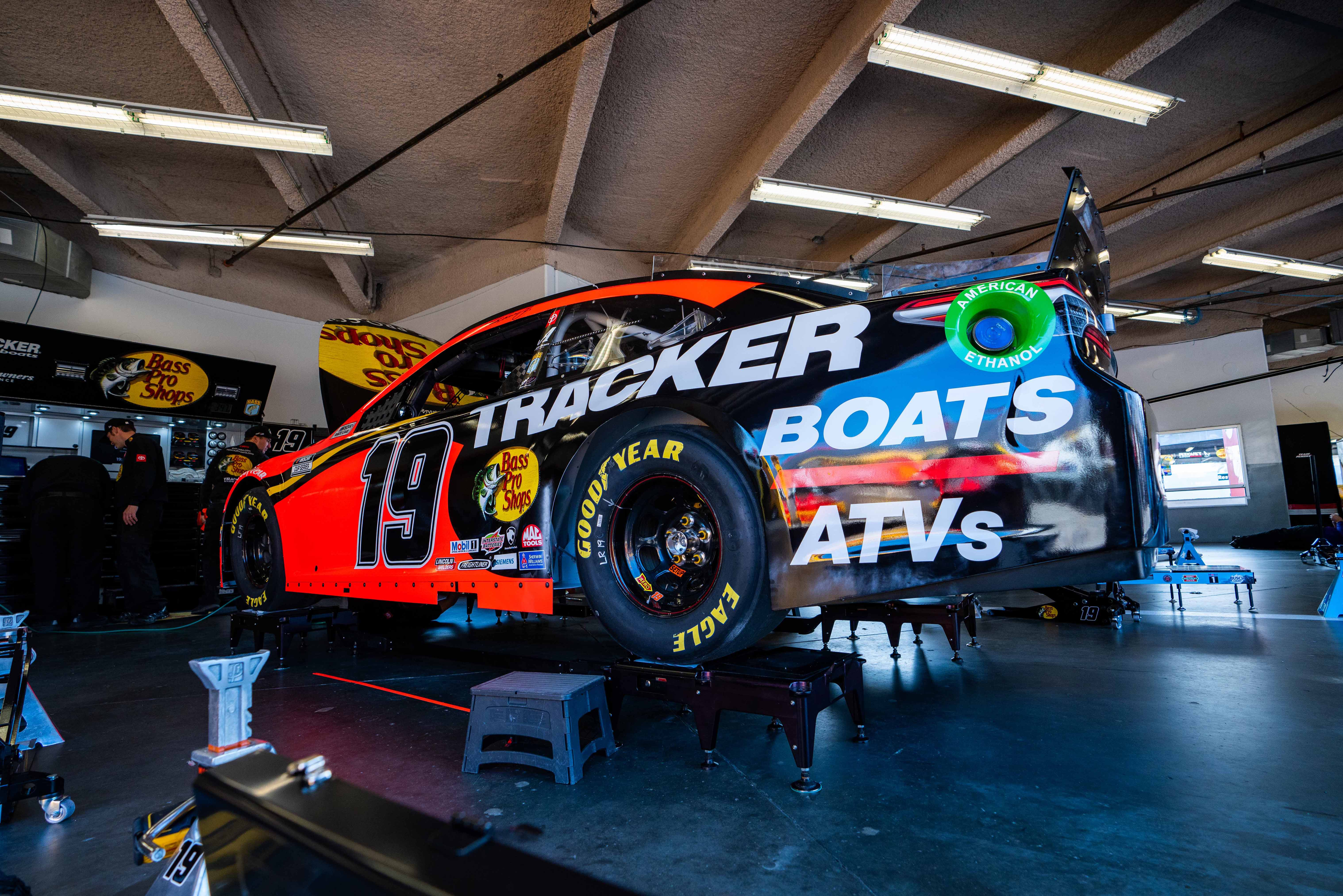 Martin Truex Jr in the NASCAR garage area at Daytona