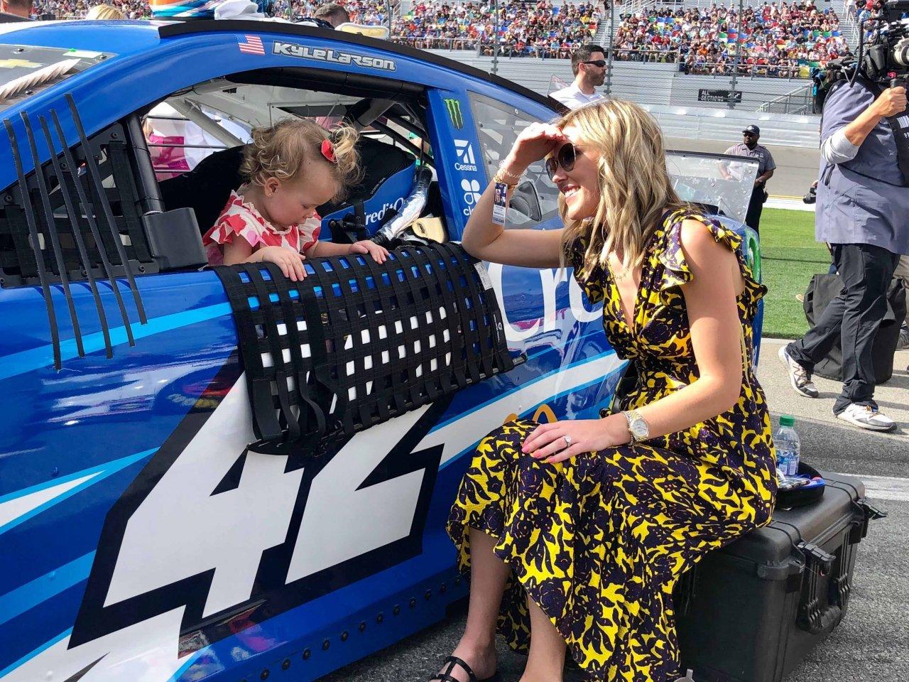 NASCAR driver Kyle Larson, his wife Katelyn Larson and their daughter Audrey Layne Larson