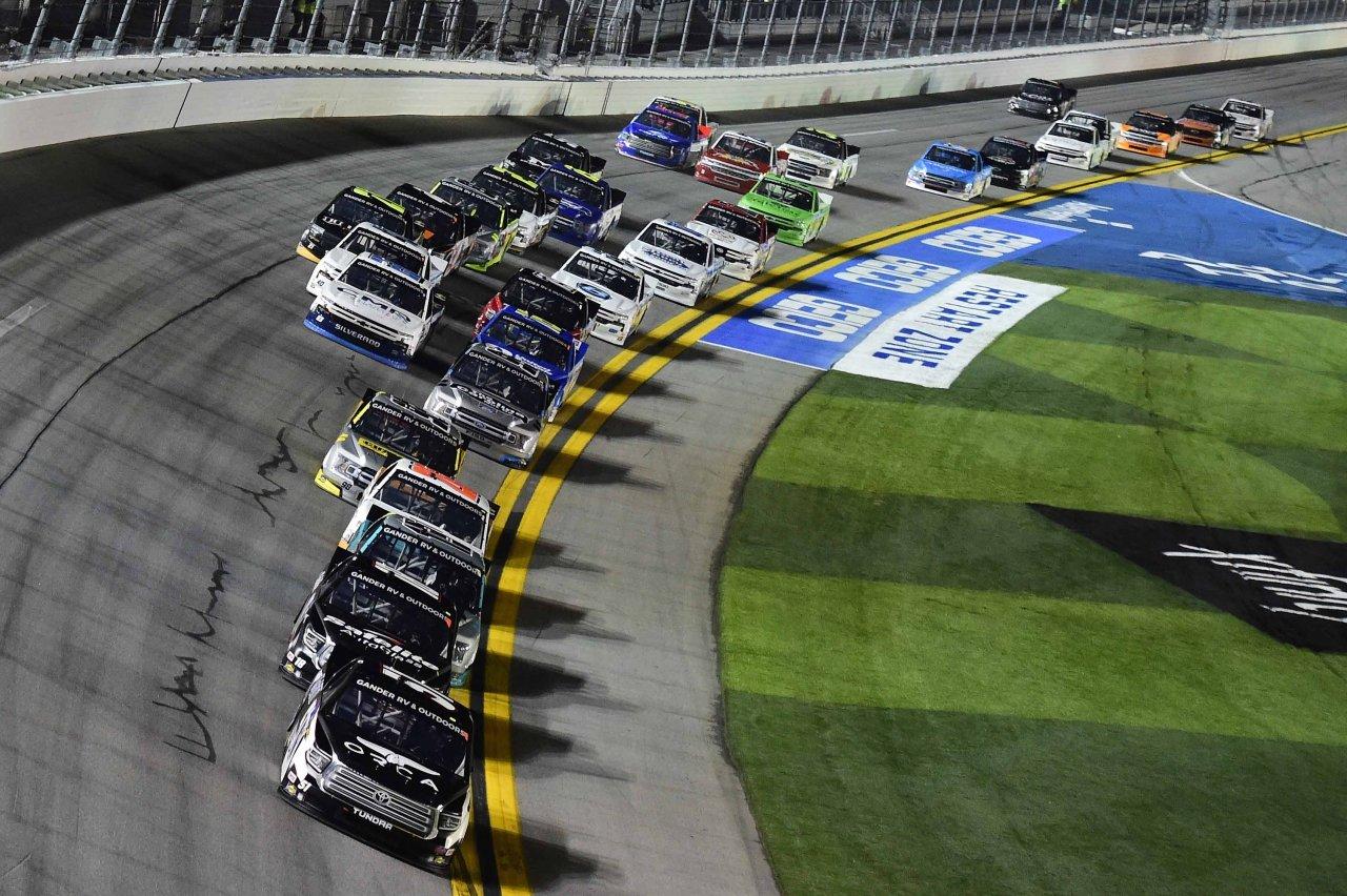 Riley Herbst leads at Daytona International Speedway - NASCAR Trucks