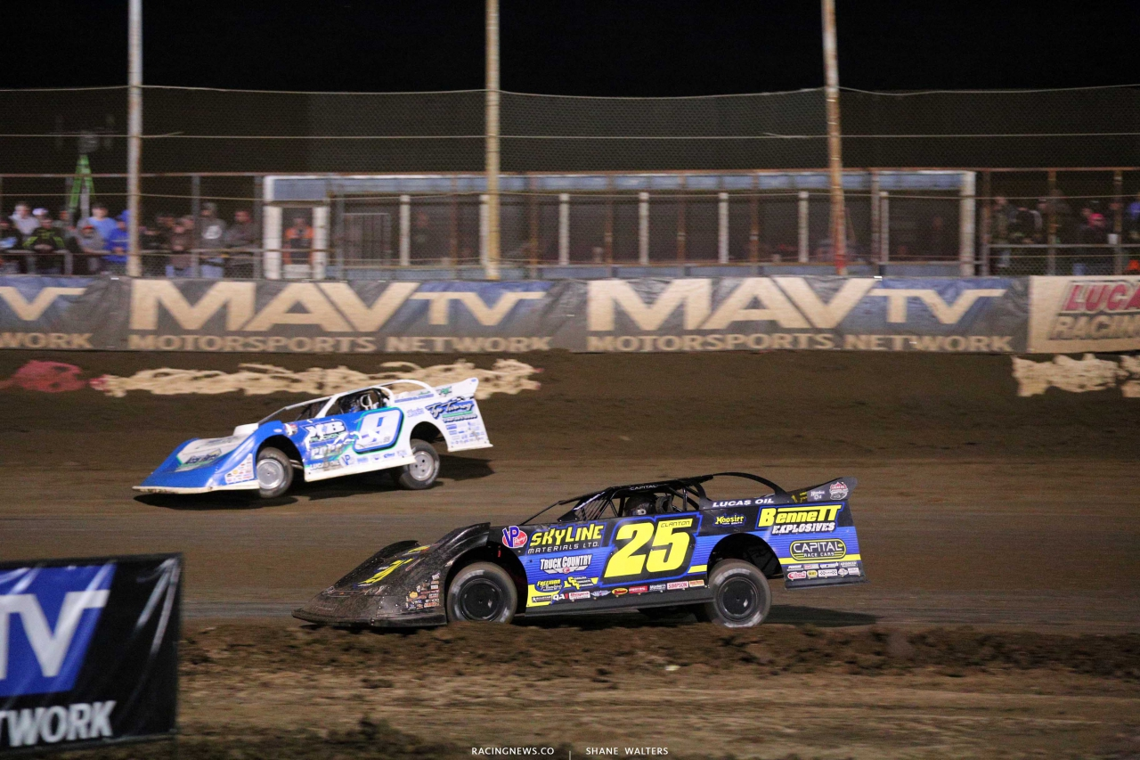 Shane Clanton and Devin Moran at East Bay Raceway Park - Lucas Oil Late Model Dirt Series 5173