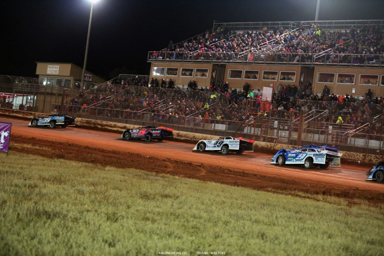 Tim McCreadie, Mark Whitener, Jonathan Davenport, Brandon Sheppard and Devin Moran at Golden Isles Speedway - Lucas Series 3460