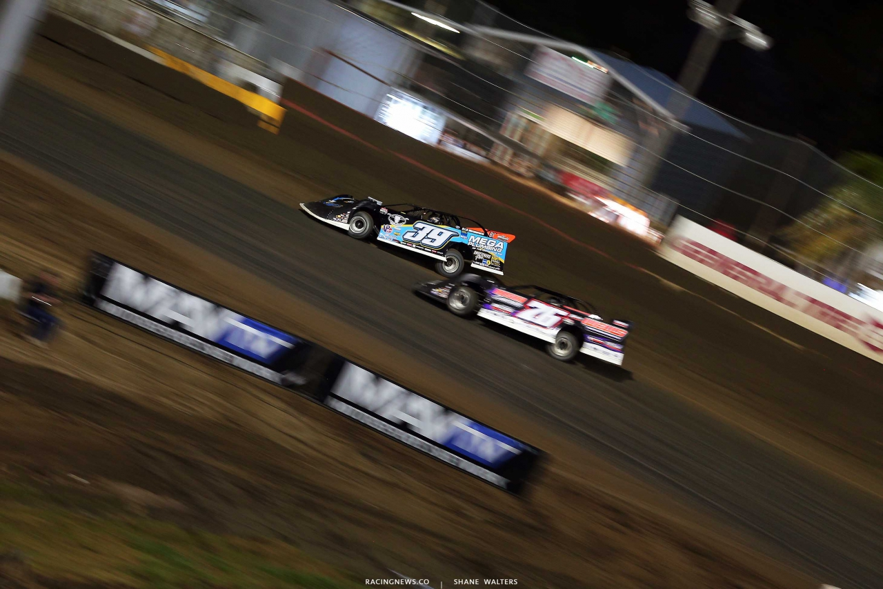 Tim McCreadie and Brandon Overton at East Bay Raceway Park - Lucas Oil Late Model Series 4216