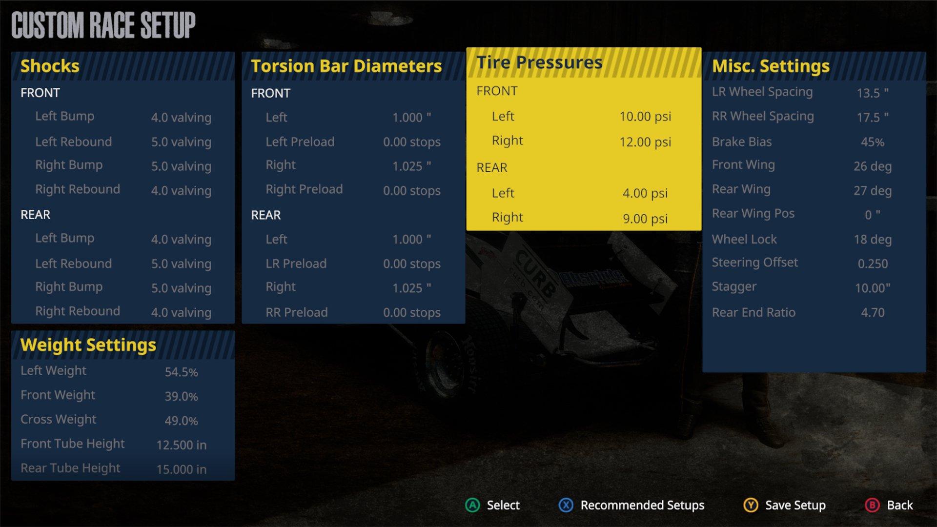 Tony Stewart dirt racing game - Setup