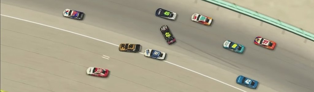 Jimmie Johnson causes first big crash in NASCAR iRacing Series (Video)