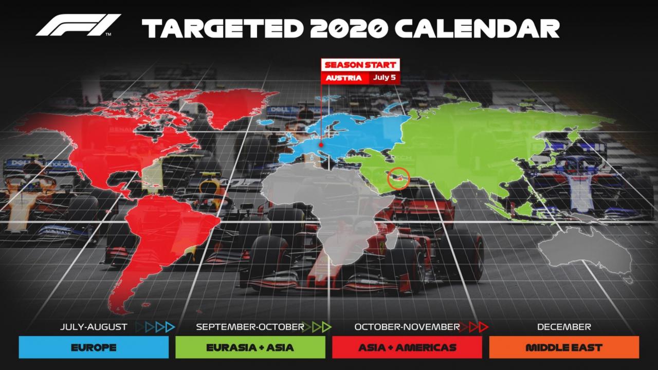 2020 F1 schedule