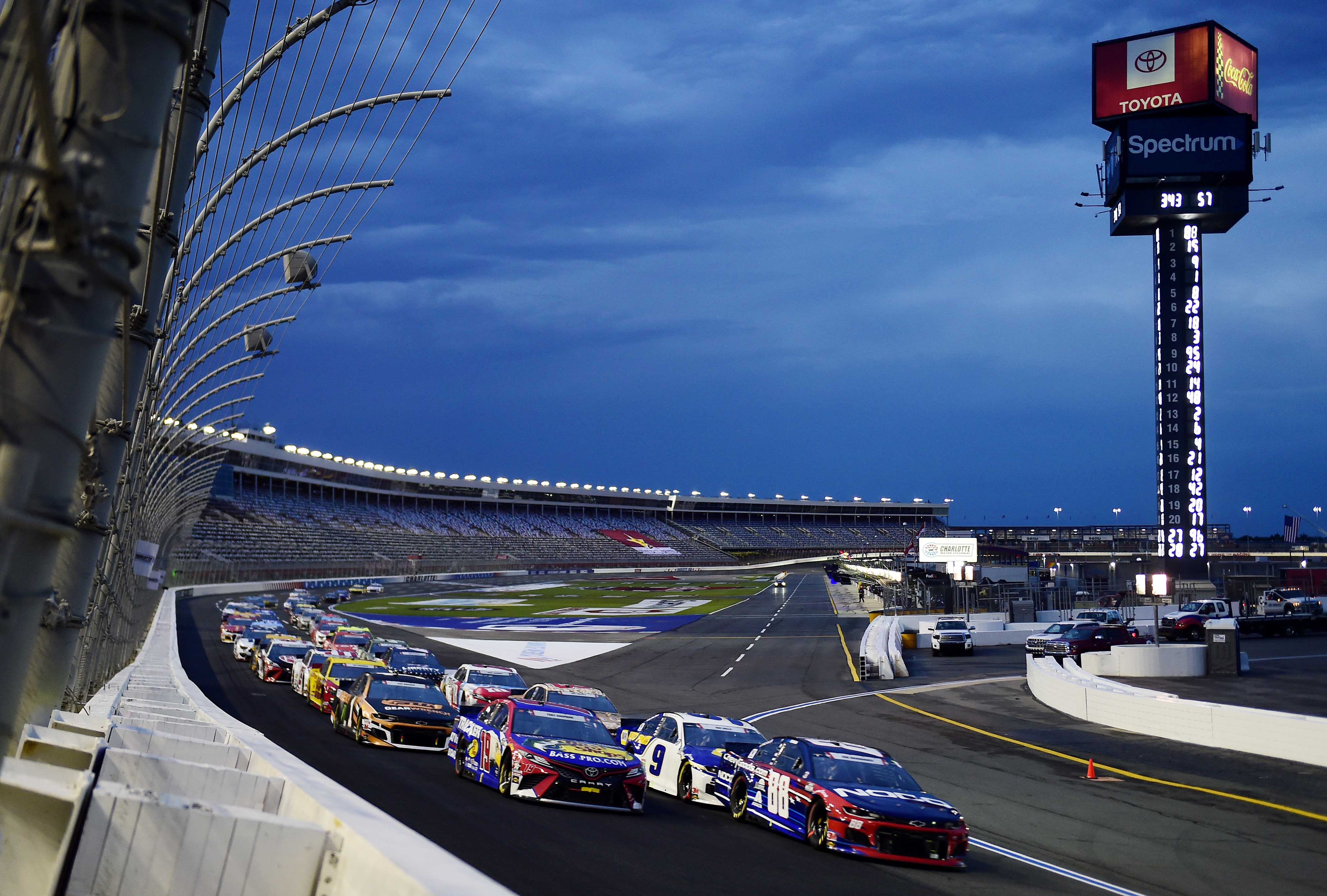 Alex Bowman and Martin Truex Jr in the Coca-Cola 600 at Charlotte Motor Speedway