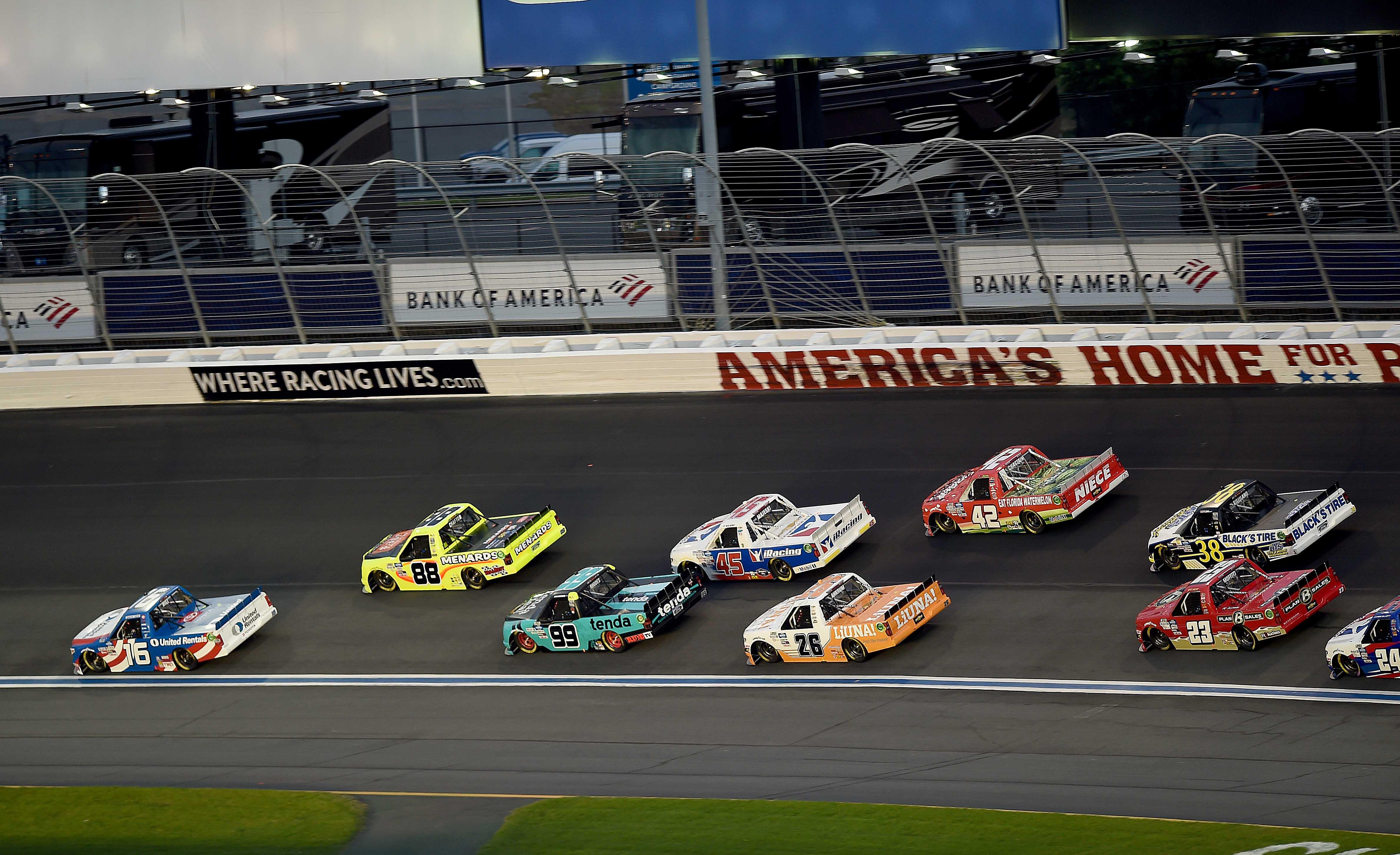 Austin Hill leads Matt Crafton in the NASCAR Trucks at Charlotte Motor Speedway
