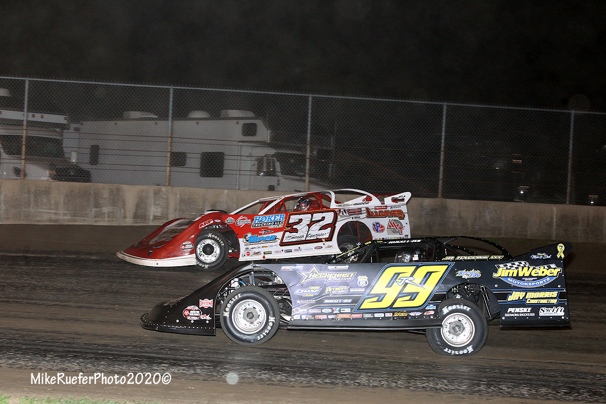 Bobby Pierce and Frank Heckenast Jr - Davenport Speedway - WoOLMS