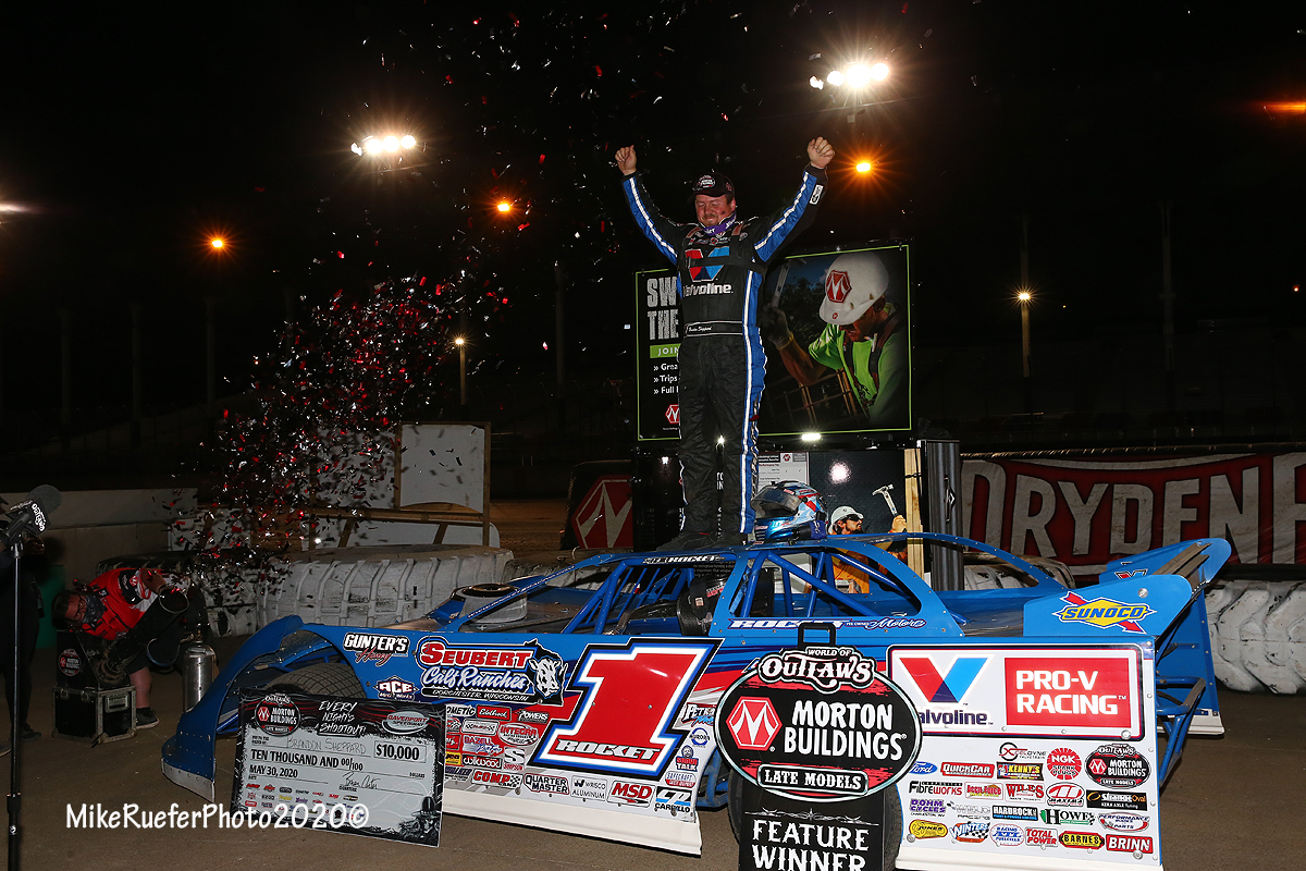 Brandon Sheppard in victory lane at Davenport Speedway