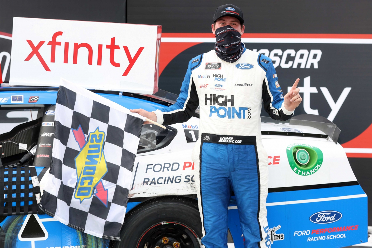 Chase Briscoe in victory lane at Darlington Raceway - NASCAR Xfinity Series