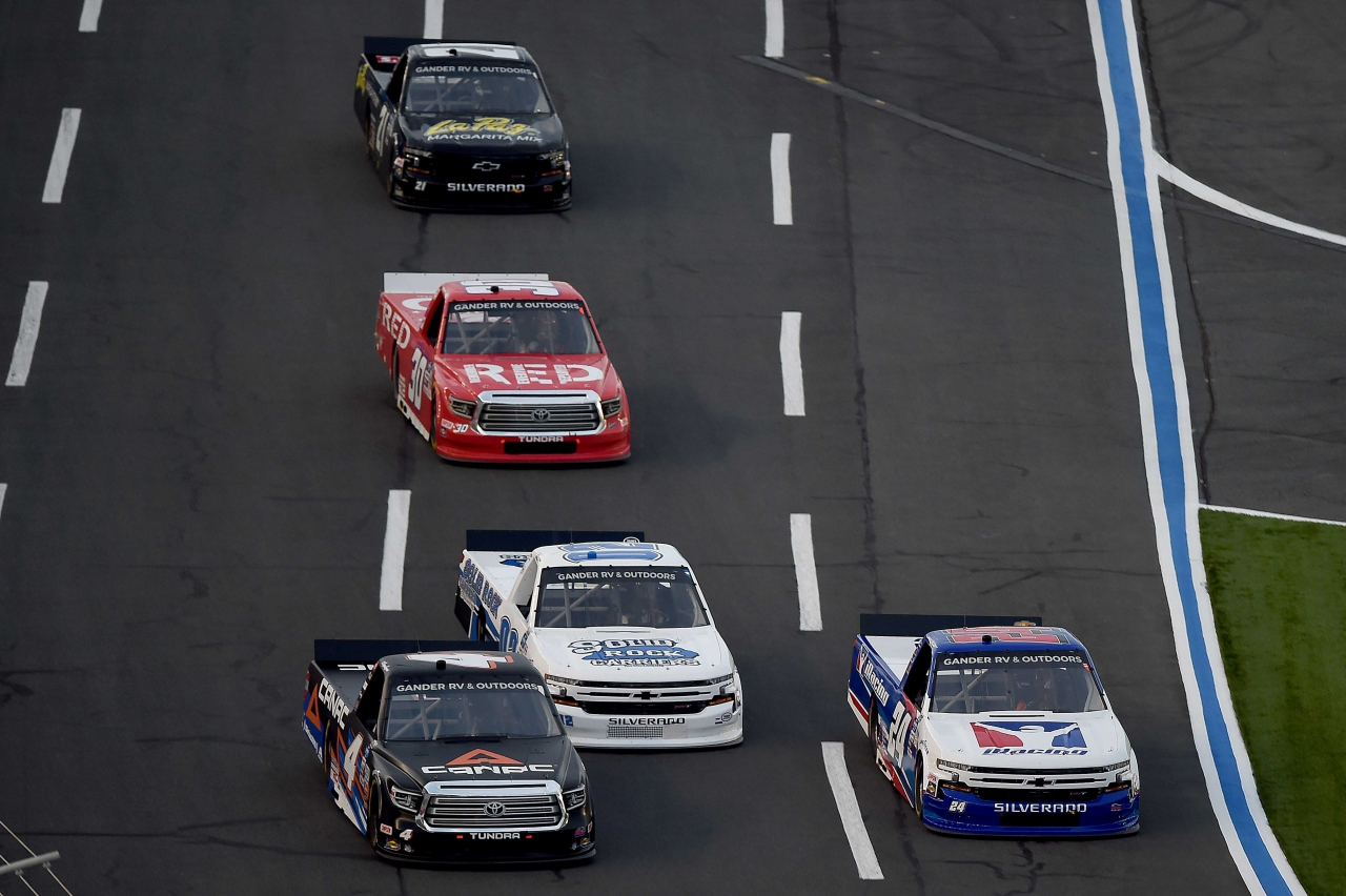 Chase Elliott and Raphael Lessard in the NASCAR Truck Race at Charlotte Motor SPeedway