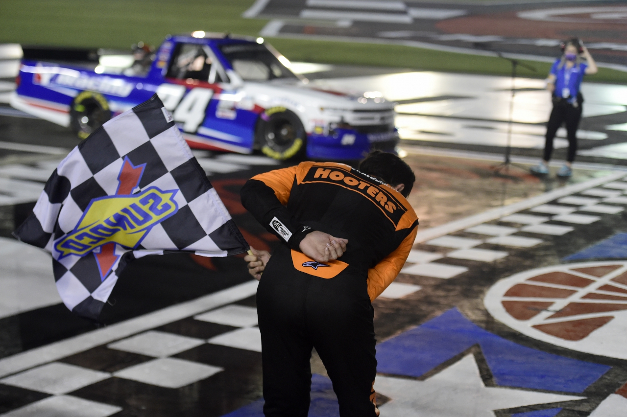 Chase Elliott does the Kyle Busch bow - NASCAR Truck Series win at Charlotte Motor Speedway