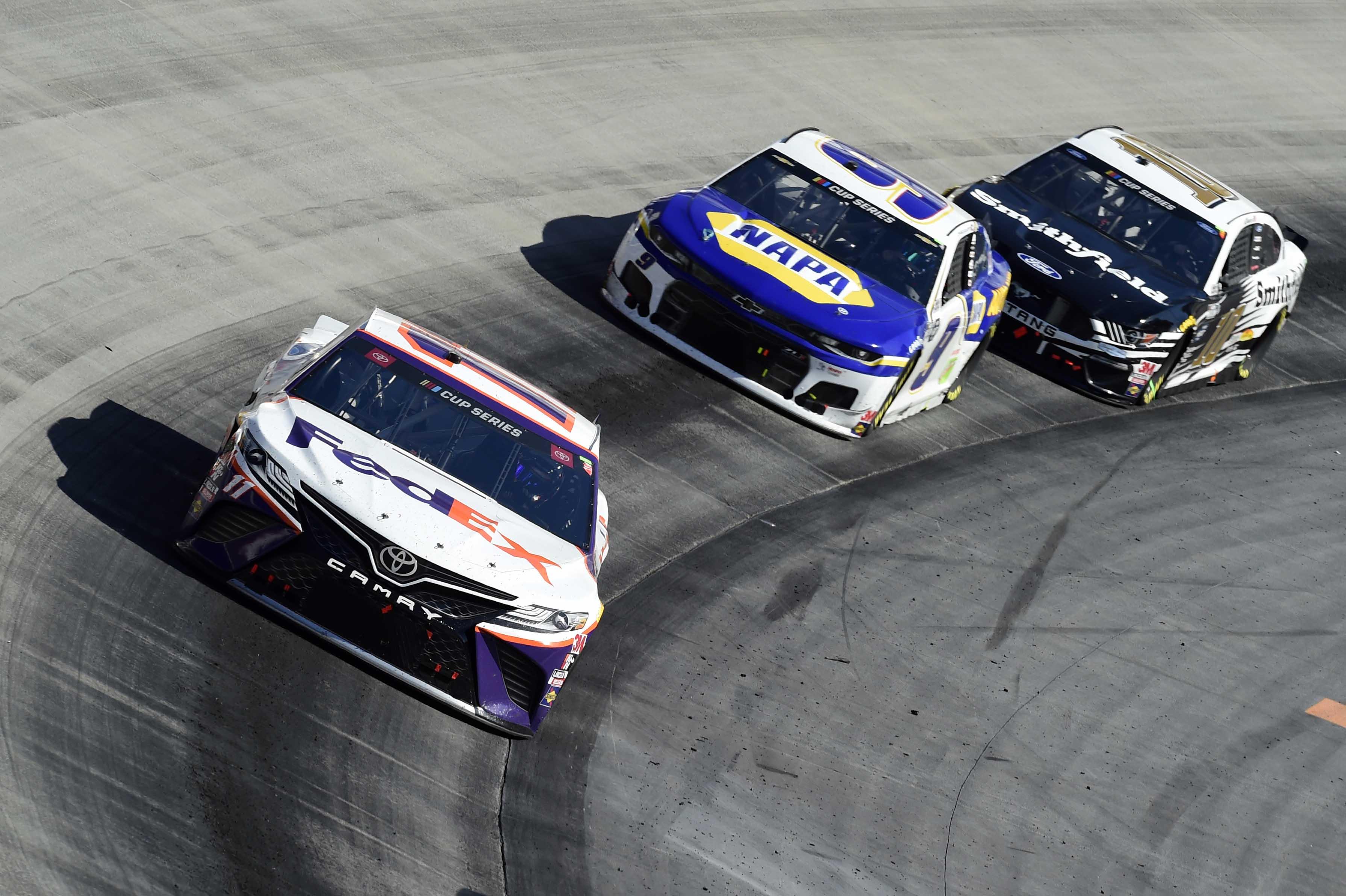 Denny Hamlin and Chase Elliott at Bristol Motor Speedway - NASCAR Cup Series