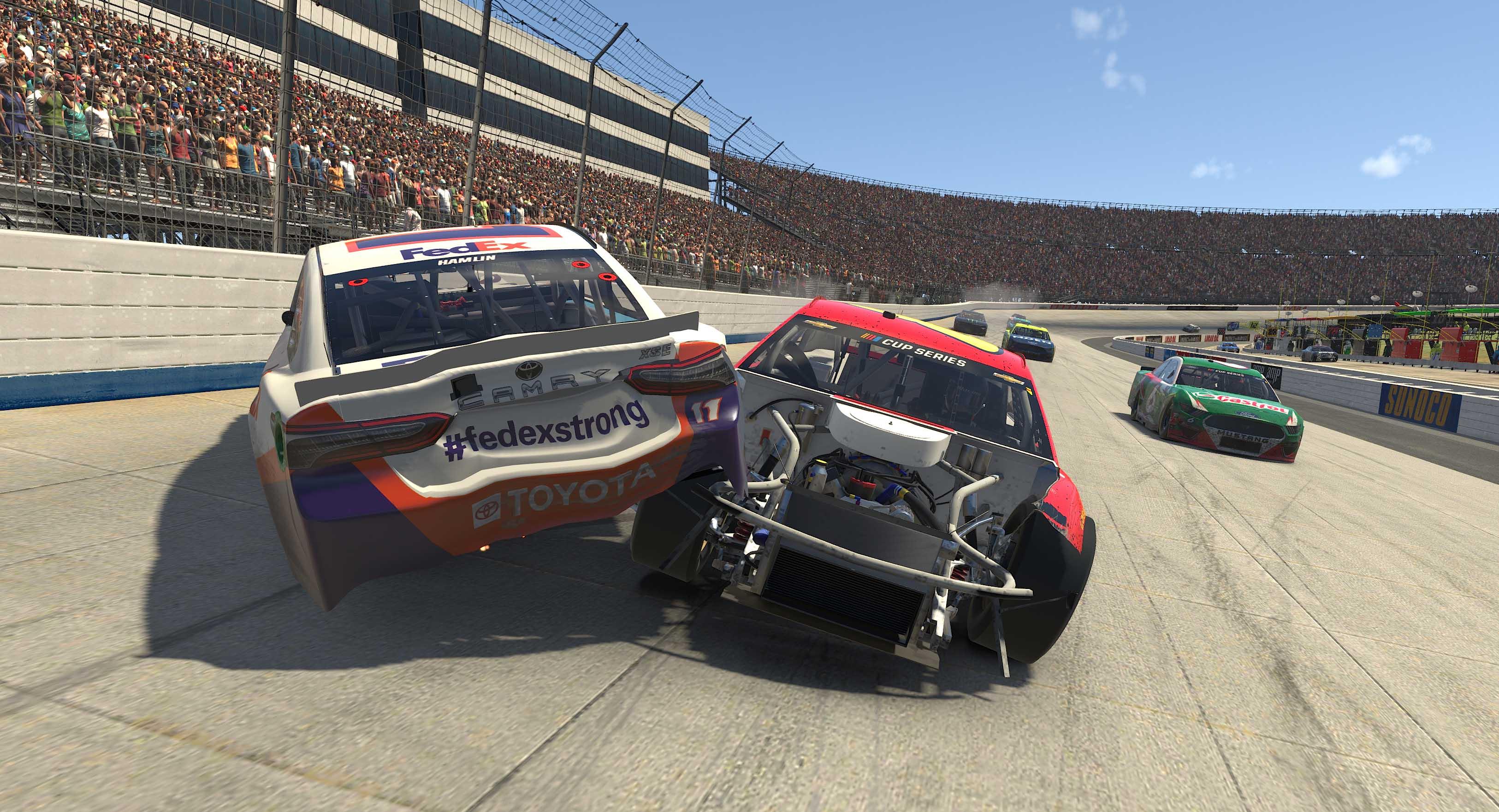 Denny Hamlin crashes at Dover International Speedway - NASCAR iRacing