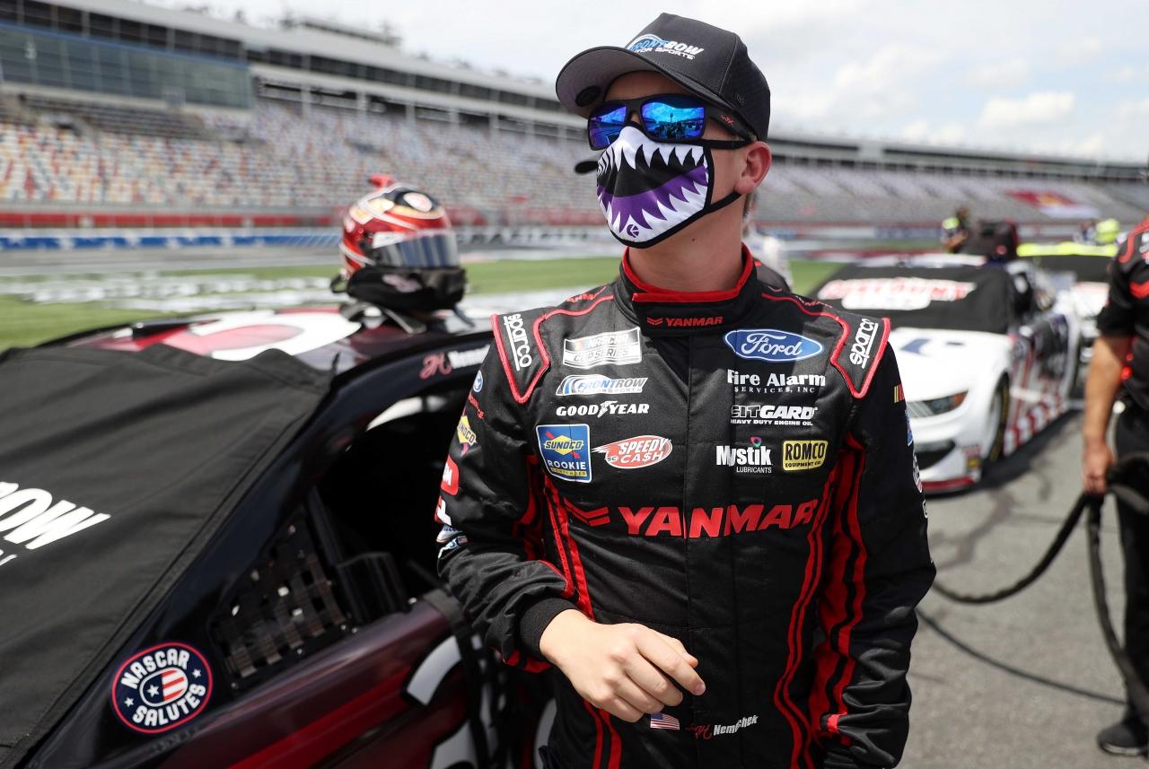 John Hunter Nemechek in a mask at Charlotte Motor Speedway