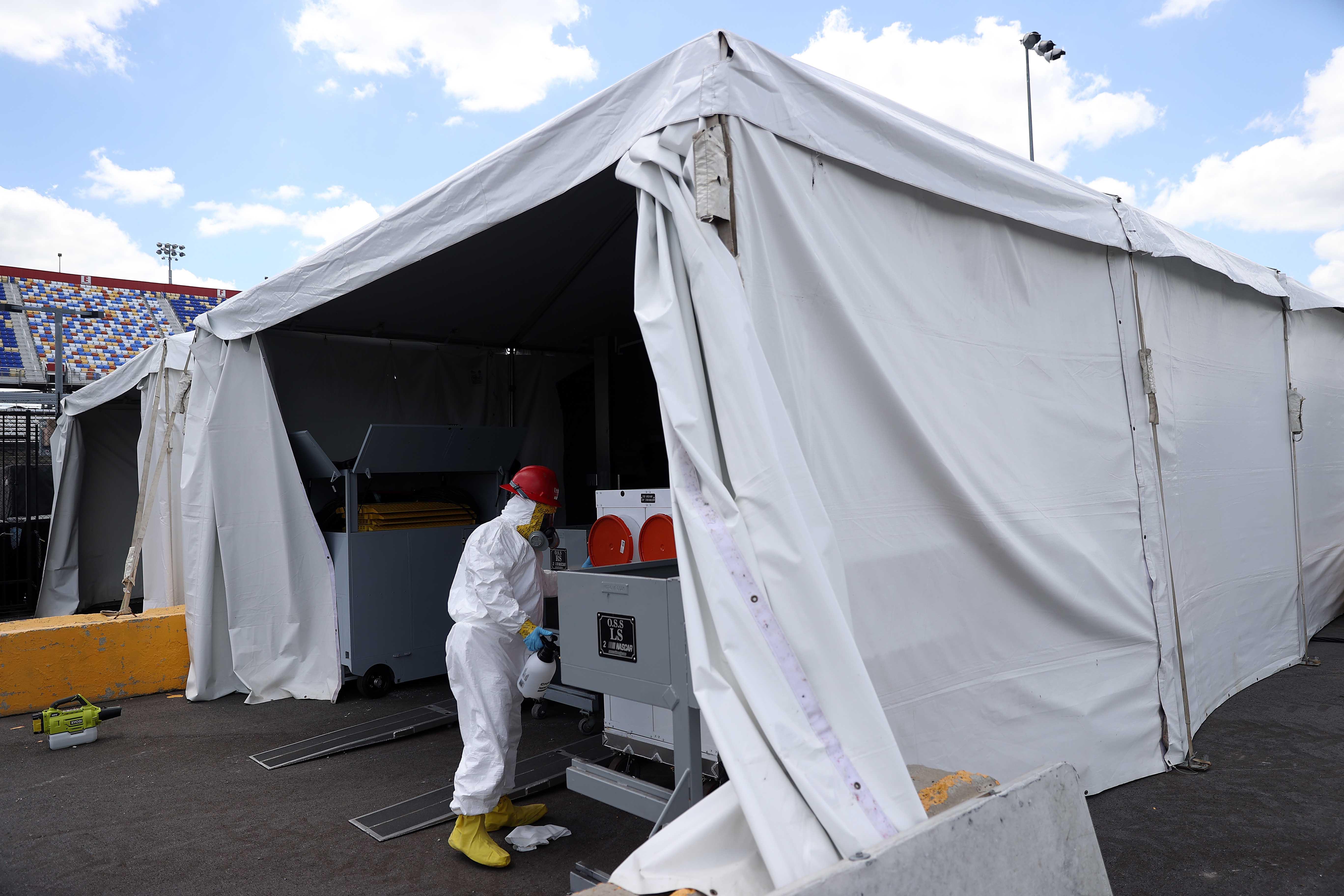 NASCAR OSS Inspection tent - Coronavirus cleaning at Darlington Raceway