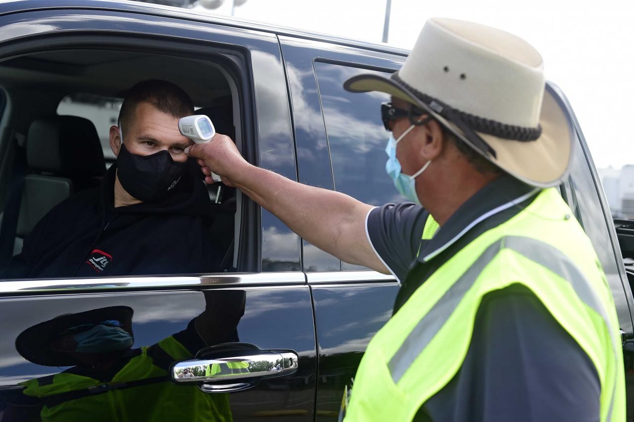 NASCAR driver Ryan Preece in a tempurature checkpoint at Darlington Raceway - NASCAR