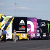 NASCAR haulers social distance at Darlington Raceway - NASCAR Cup Series
