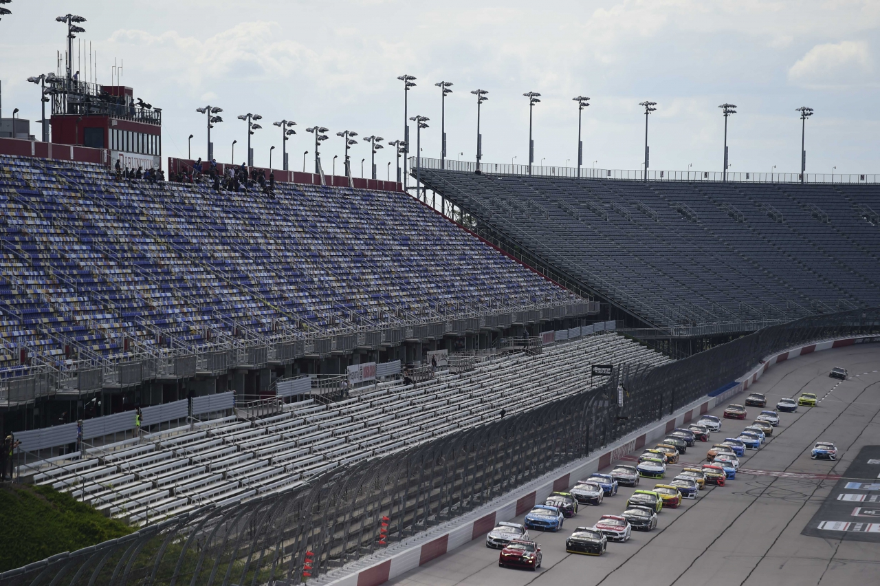 NASCAR race at Darlington Raceway without fans in the grandstands