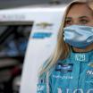 Natalie Decker in a mask - NASCAR Truck Series