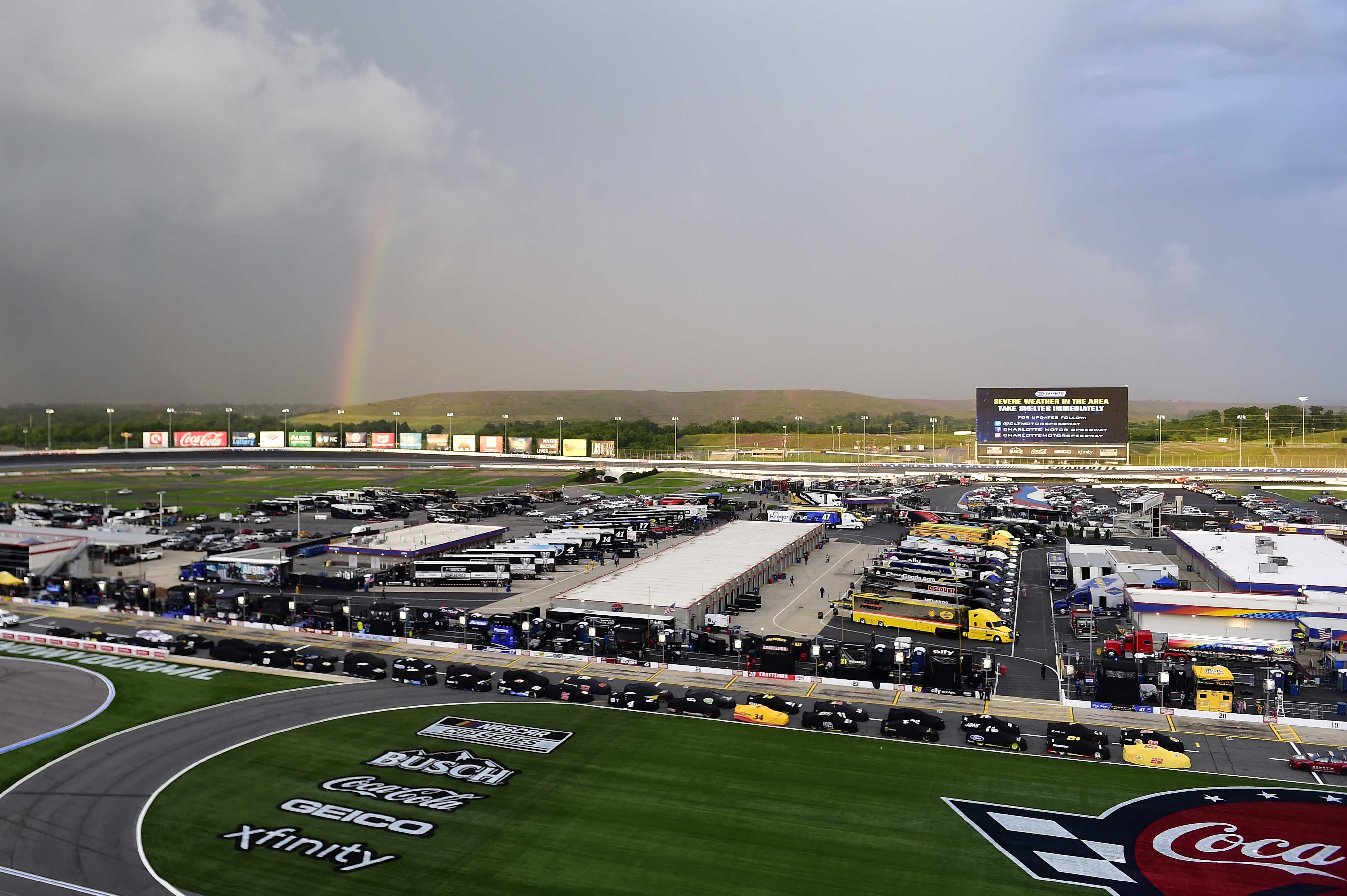 Rainbow at Charlotte Motor Speedway - Rain delay