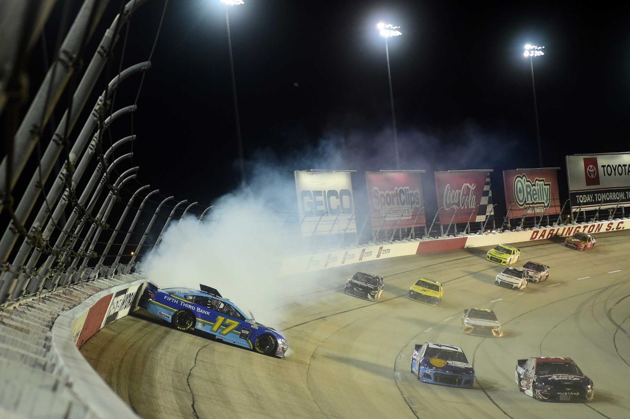 Ricky Stenhouse Jr spins at Darlington Raceway - NASCAR Cup Series