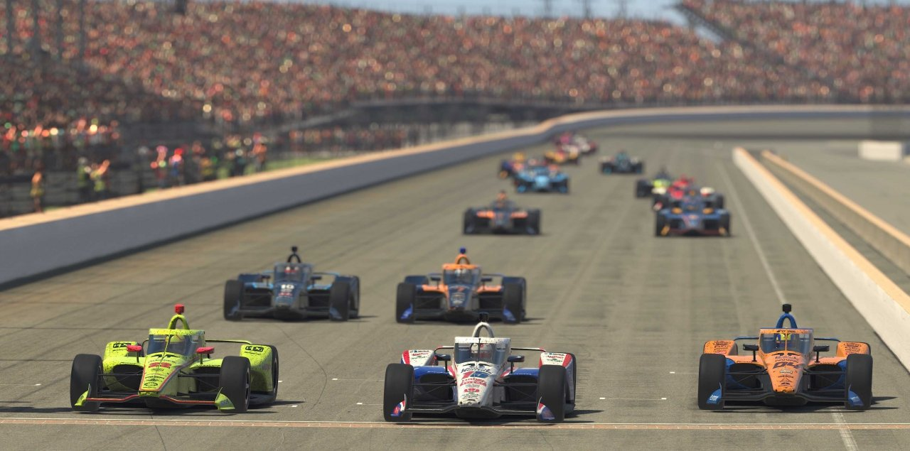 Simon Pagenaud, Graham Rahal, Lando Norris - INDYCAR iRacing at Indianapolis Motor Speedway
