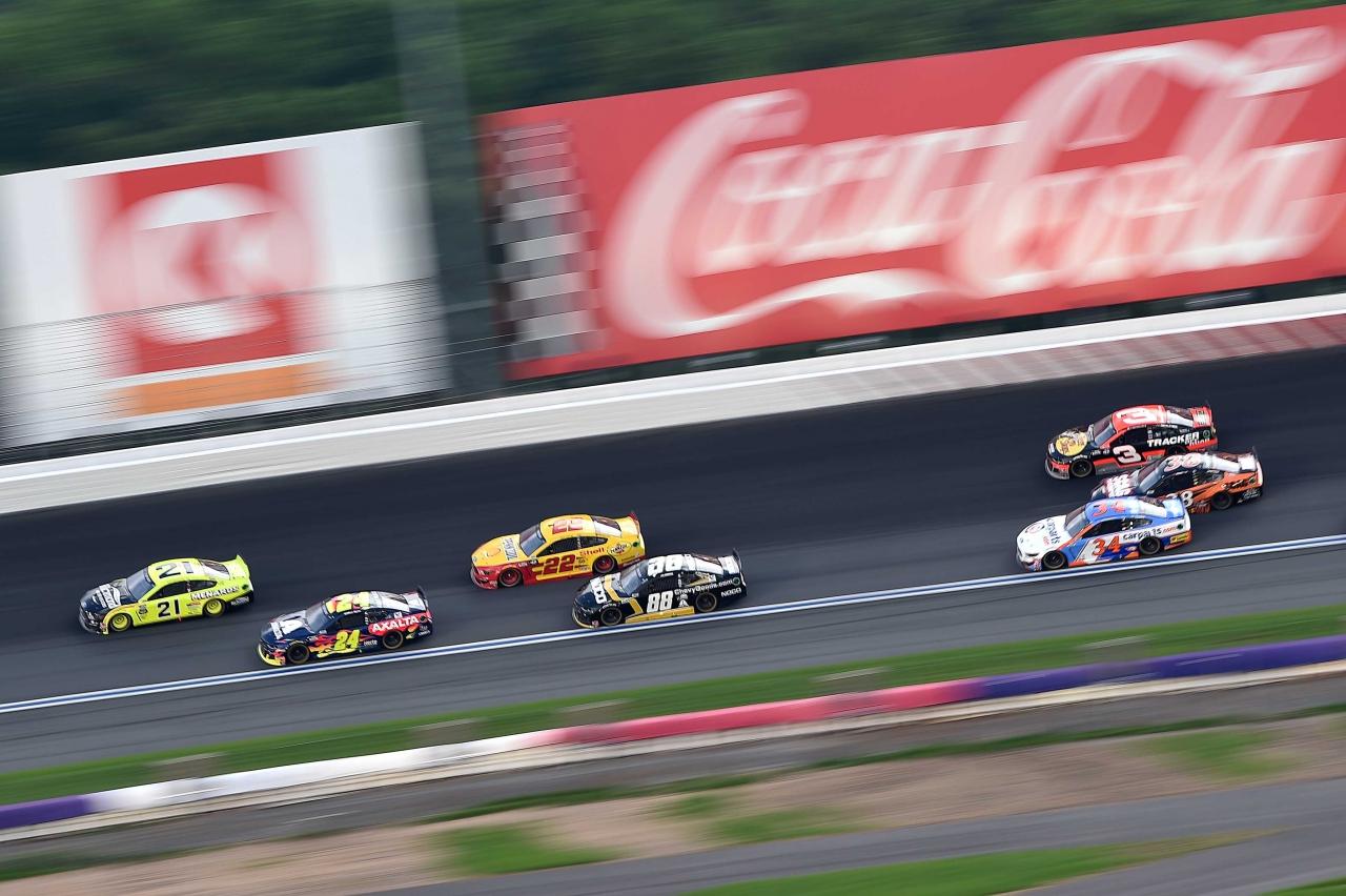 William Byron, Matt DiBenedetto, Alex Bowman and Joey Logano at Charlotte Motor Speedway - NASCAR