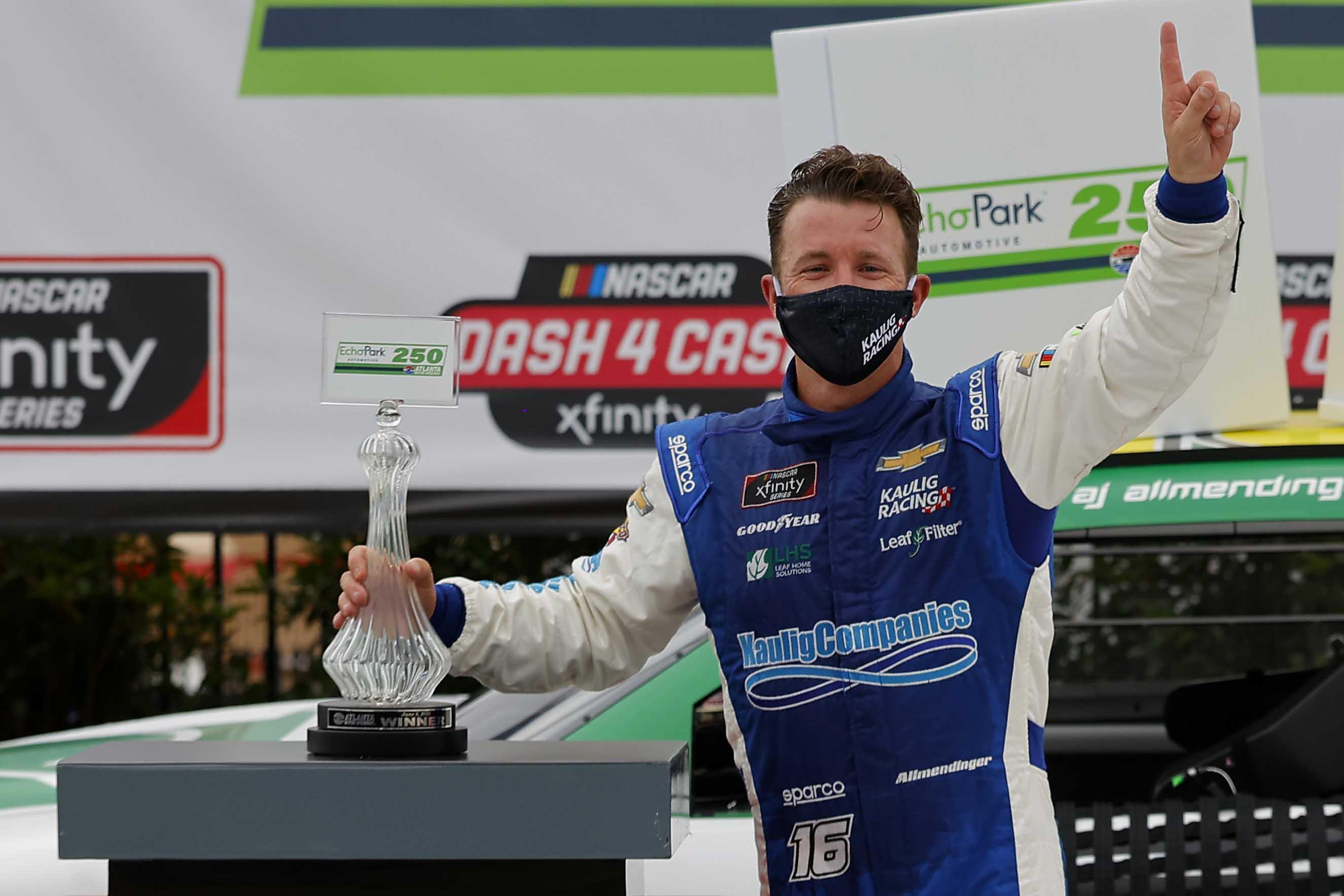 AJ Allmendinger in victory lane at Atlanta Motor Speedway - NASCAR Xfinity Series