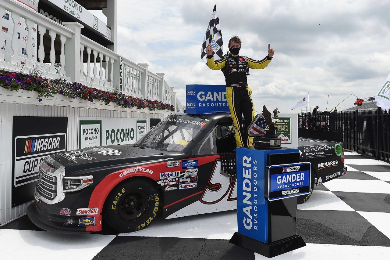Brandon Jones in victory lane at Pocono Raceway - NASCAR Truck Series