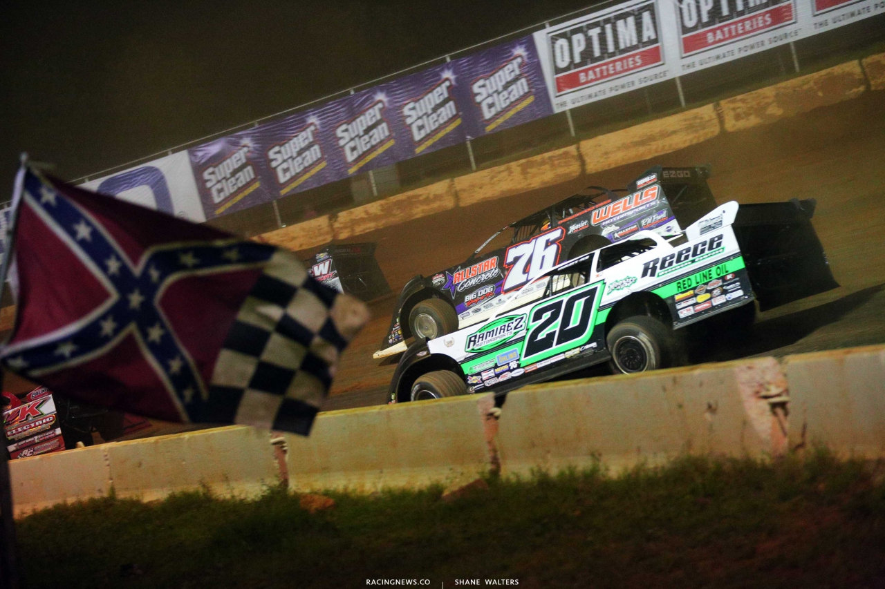 Brandon Overton, Jimmy Owens and the confederate flag at Cherokee Speedway 5702
