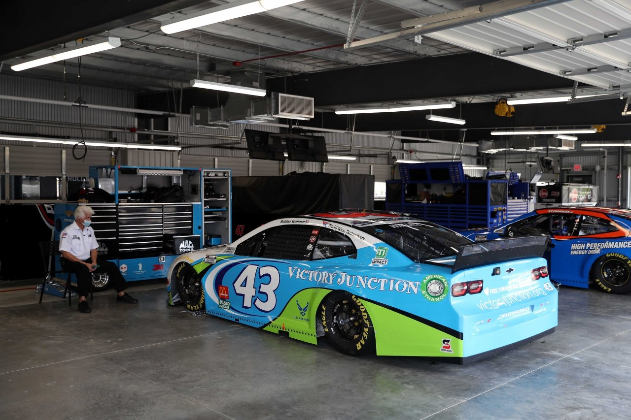 Bubba Wallace - NASCAR garage area at Talladega Superspeedway