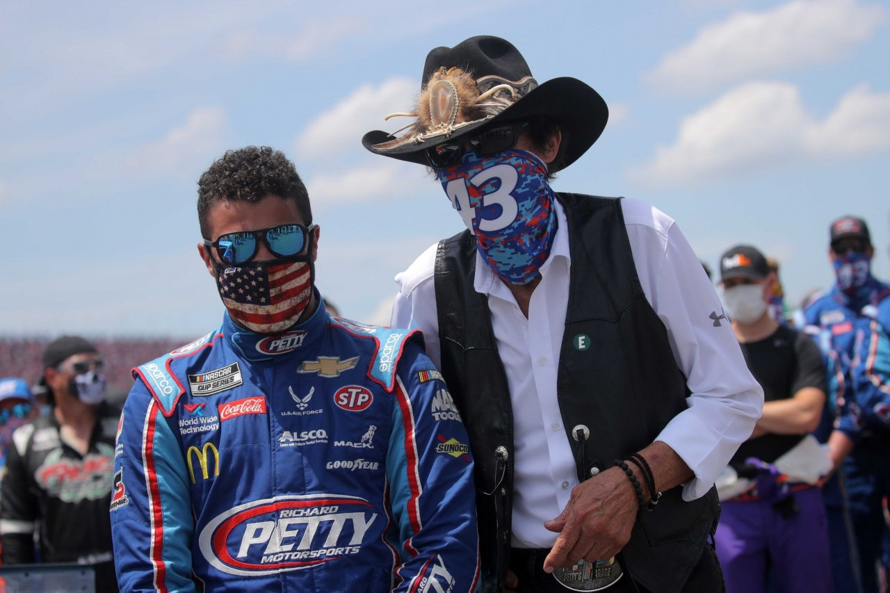 Bubba Wallace and Richard Petty at Talladega Superspeedway - NASCAR Cup Series