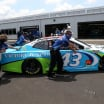 Bubba Wallace in the NASCAR garage area at Talladega Superspeedway