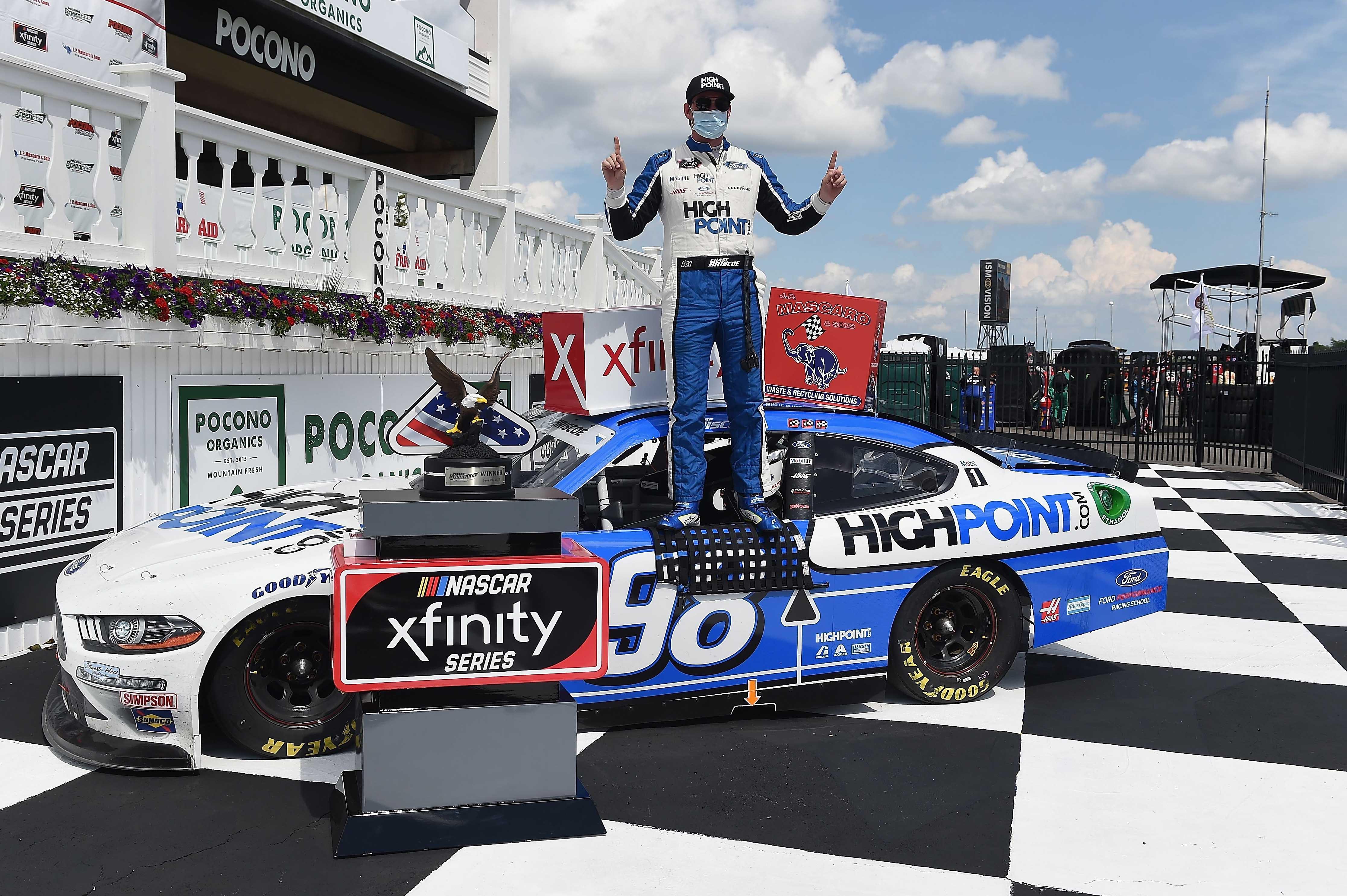 Chase Briscoe in victory lane at Pocono Raceway - NASCAR Xfinity Series