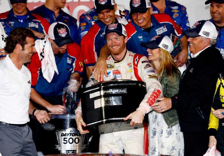 Dale Earnhardt Jr wins the 2014 Daytona 500 - Amy Earnhardt, Rick Hendrick