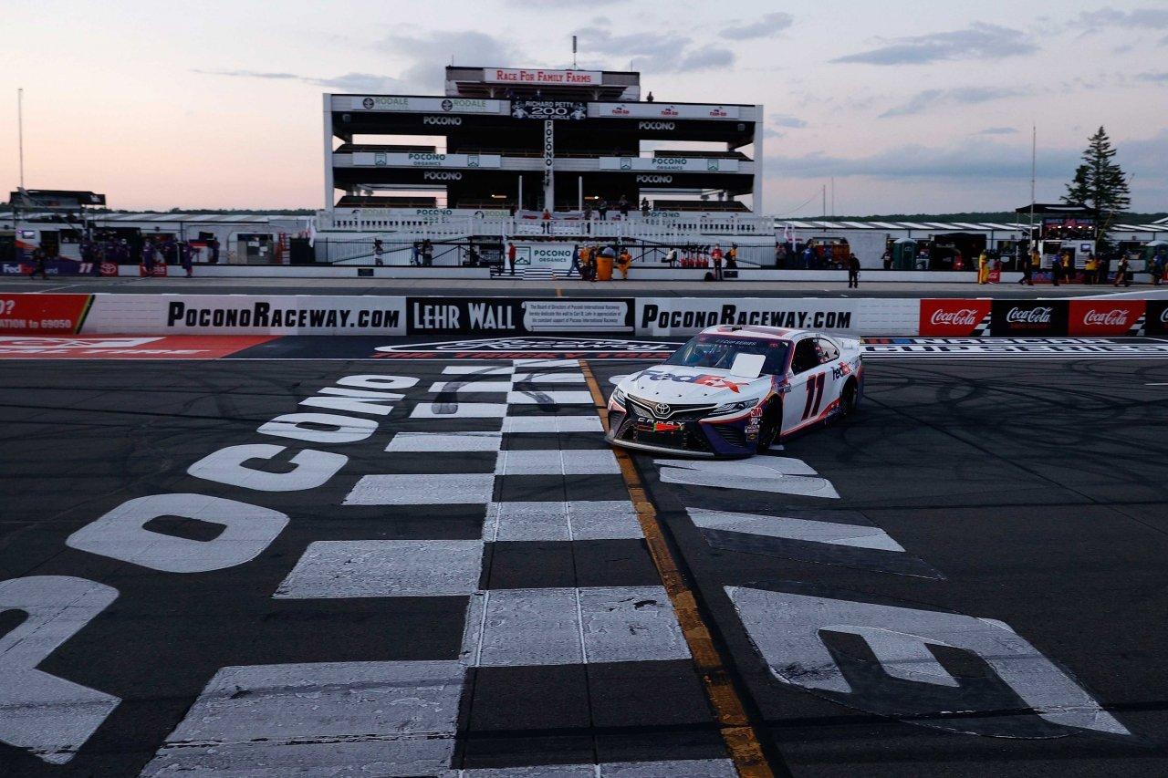 Denny Hamlin wins at Pocono Raceway in the NASCAR Cup Series