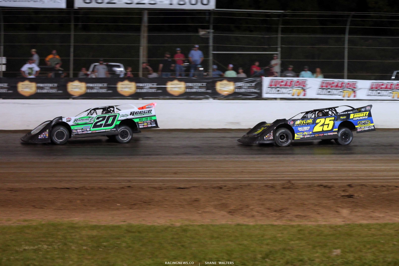Jimmy Owens and Shane Clanton in The Clash at The Mag - Lucas Oil Late Model Dirt Series 7182