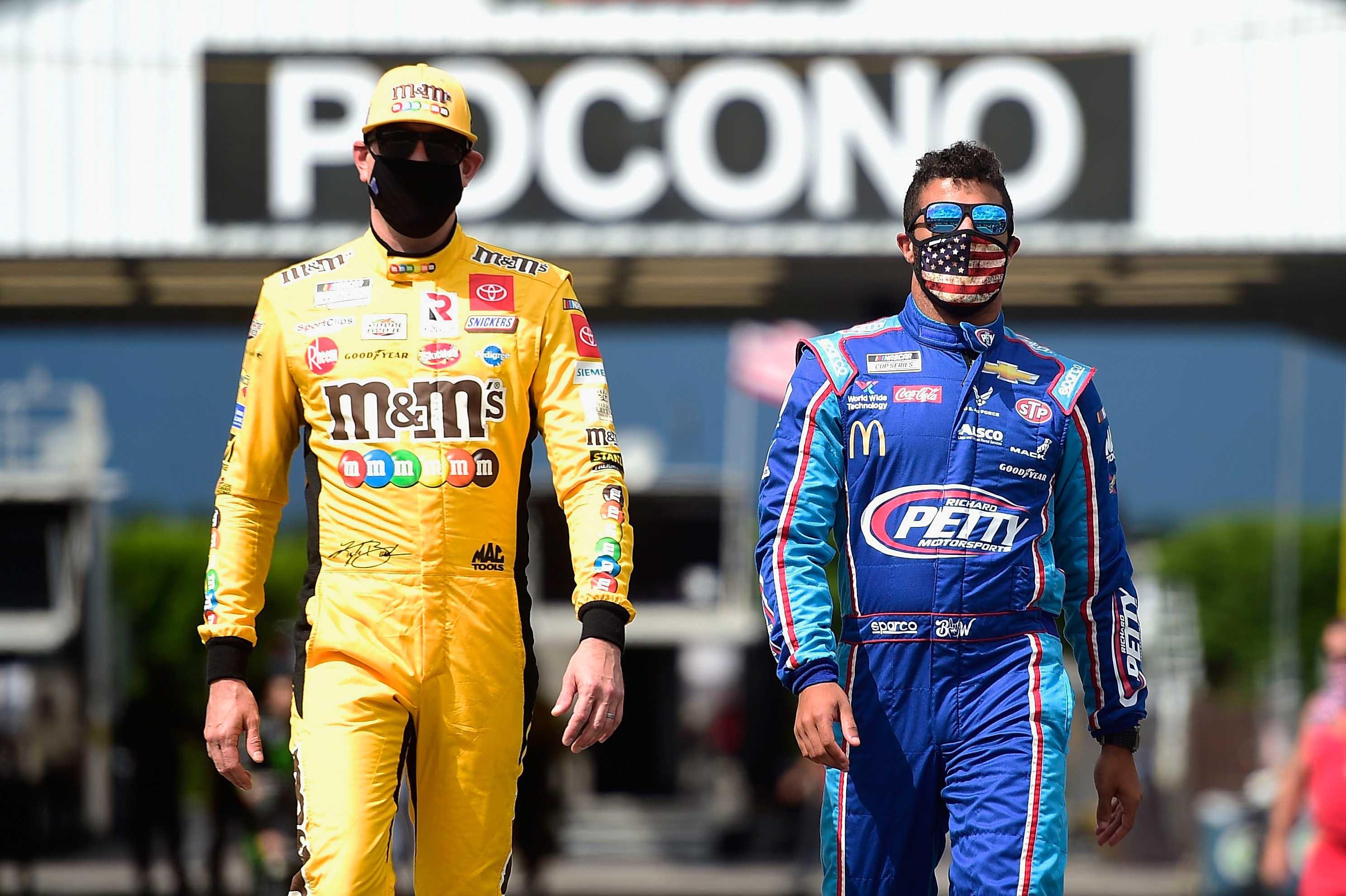 Kyle Busch and Bubba Wallace at Pocono Raceway - NASCAR drivers