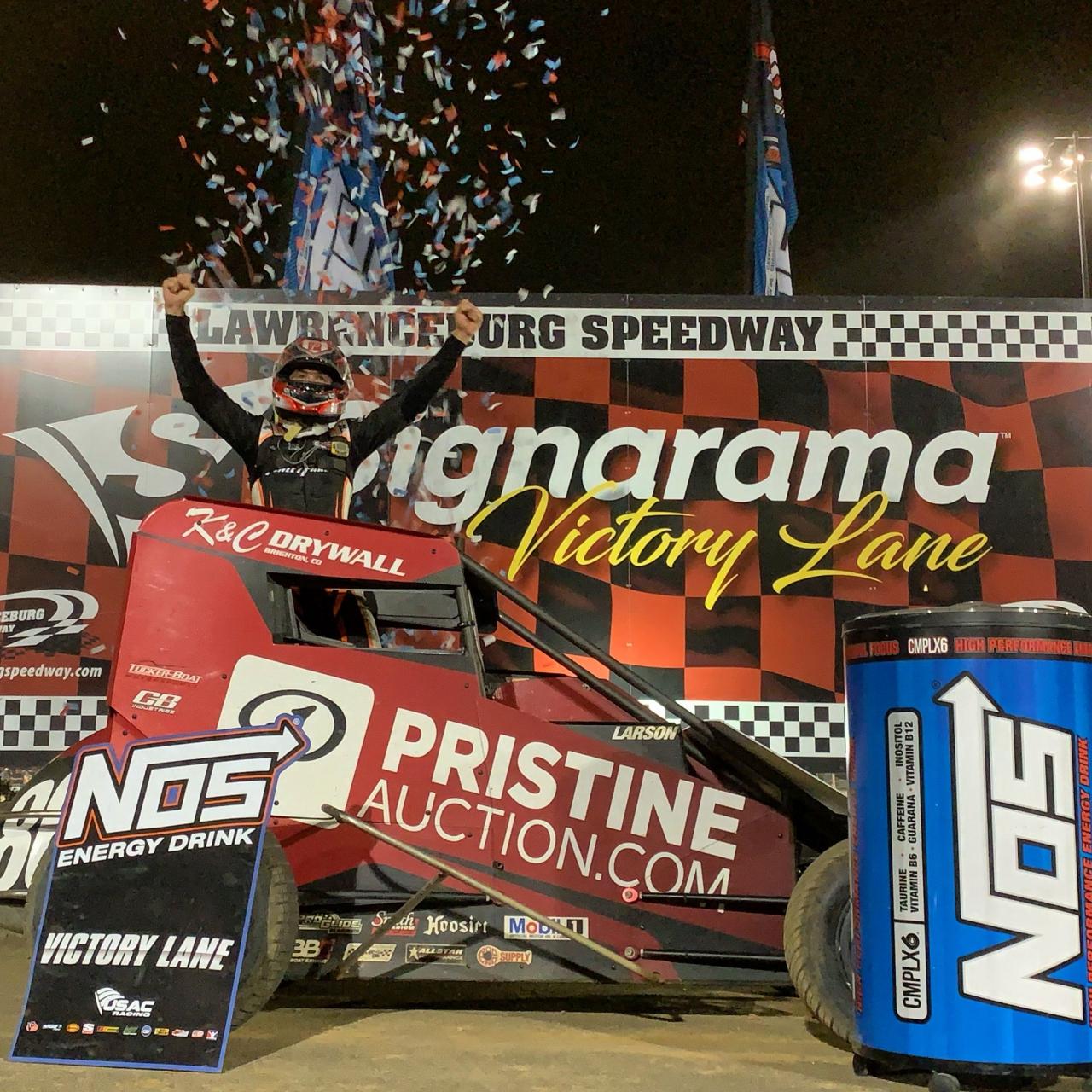Kyle Larson wins at Lawrenceburg Speedway