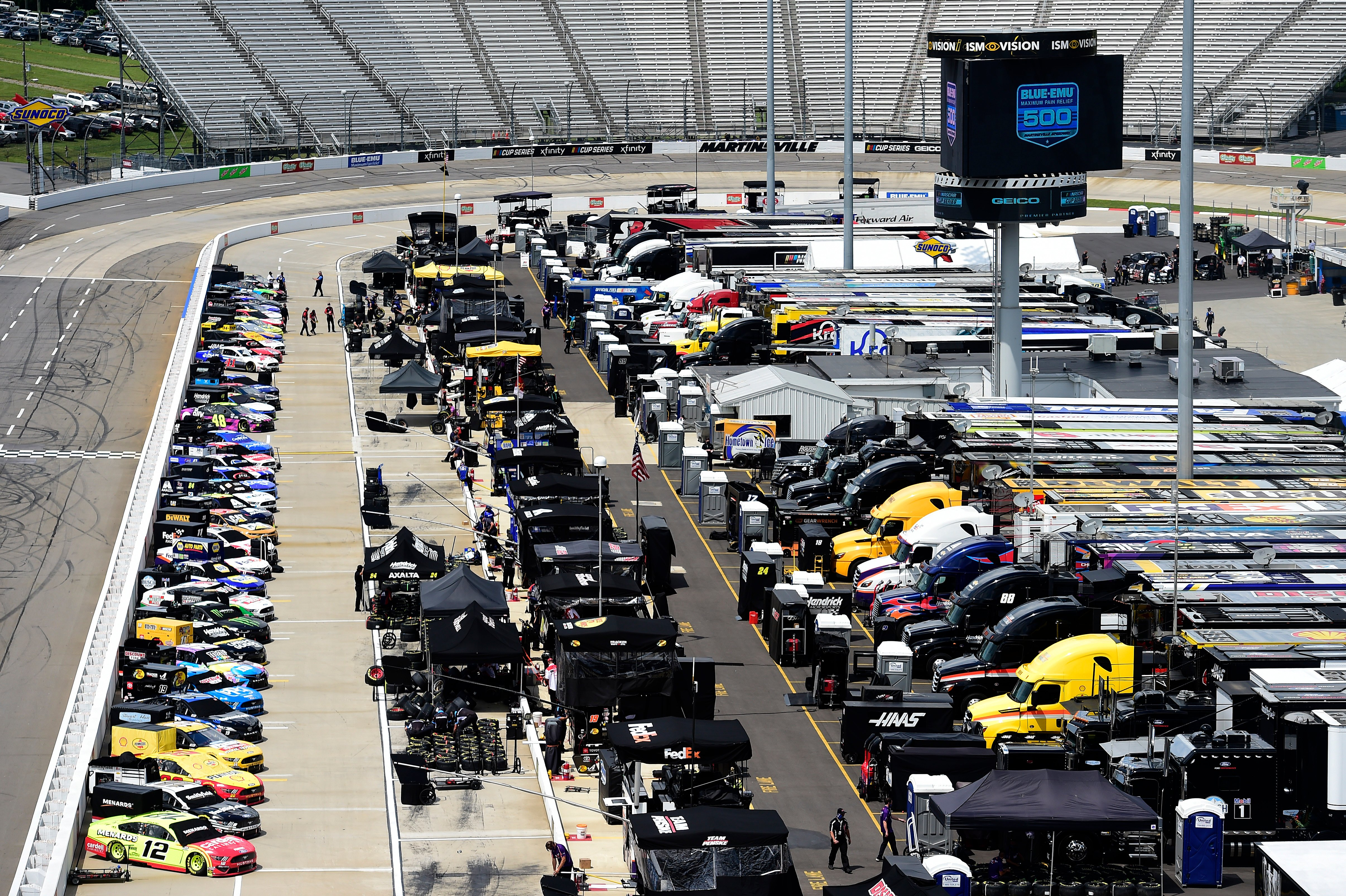 Pit road at Martinsville Speedway - NASCAR Cup Series