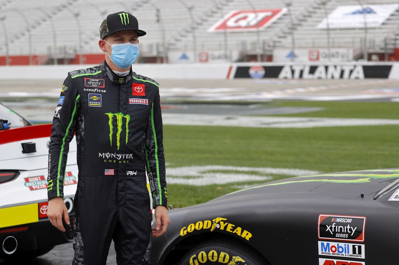 Riley Herbst in a mask - NASCAR Xfinity Series driver