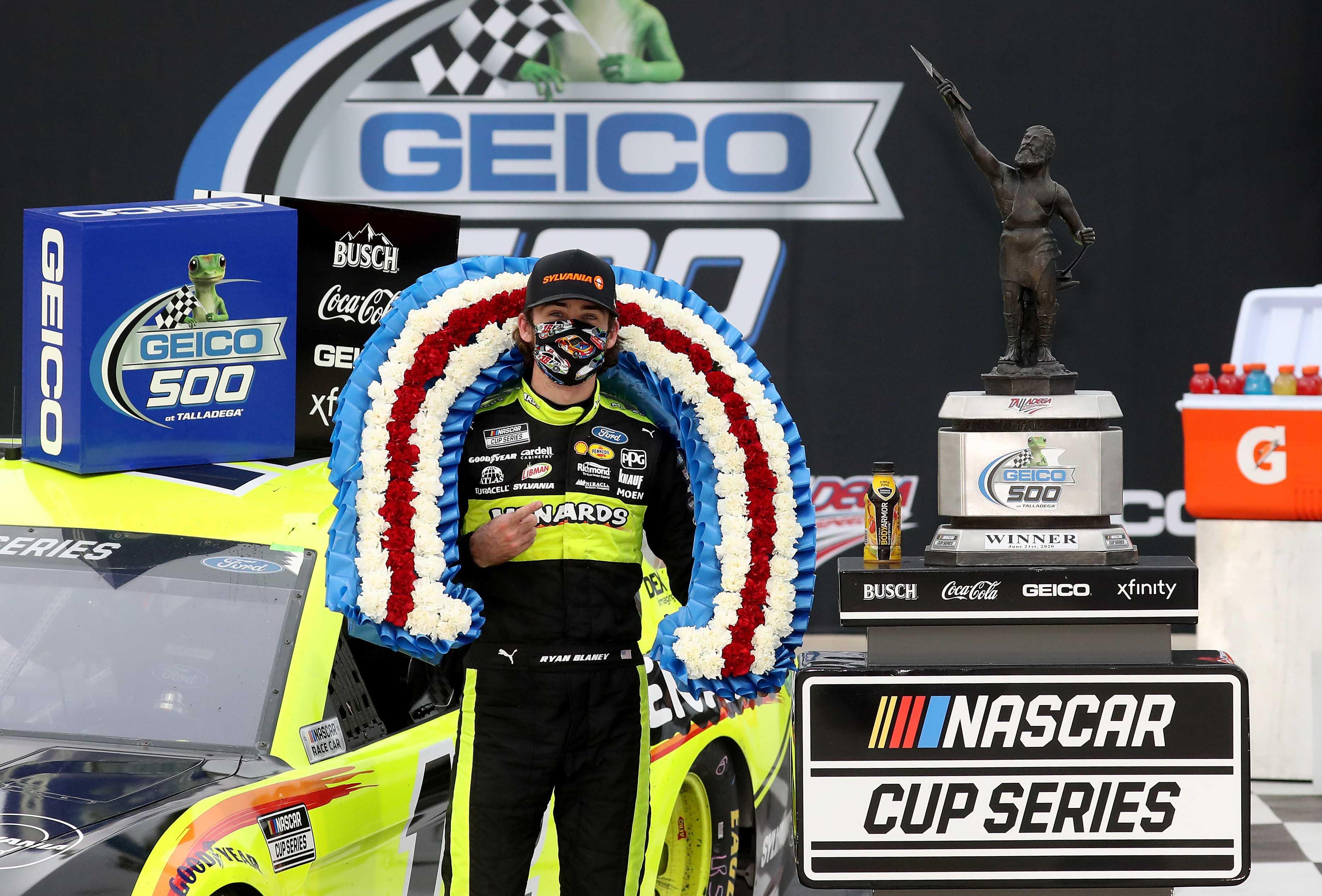 Ryan Blaney in victory lane at Talladega Superspeedway - NASCAR Cup Series