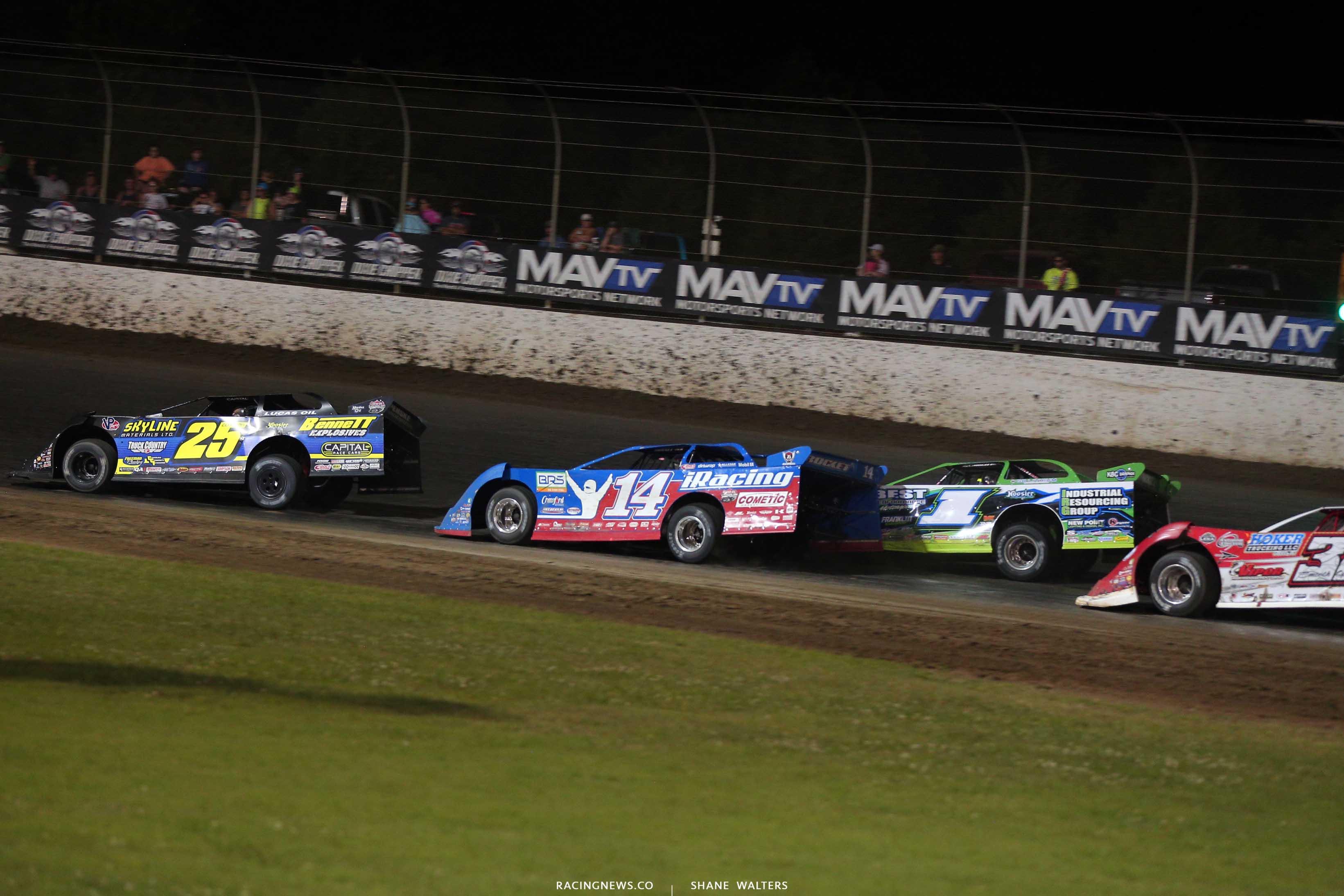 Shane Clanton, Josh Richards, Tyler Erb and Bobby Pierce at Magnolia Motor Speedway - Lucas Oil Late Models 7212