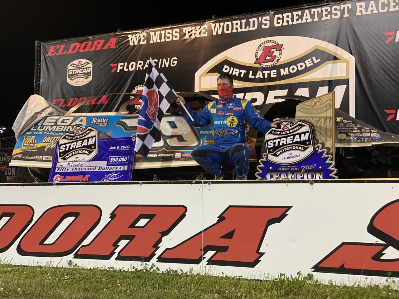 Tim McCreadie in victory lane at the Dirt Late Model Stream