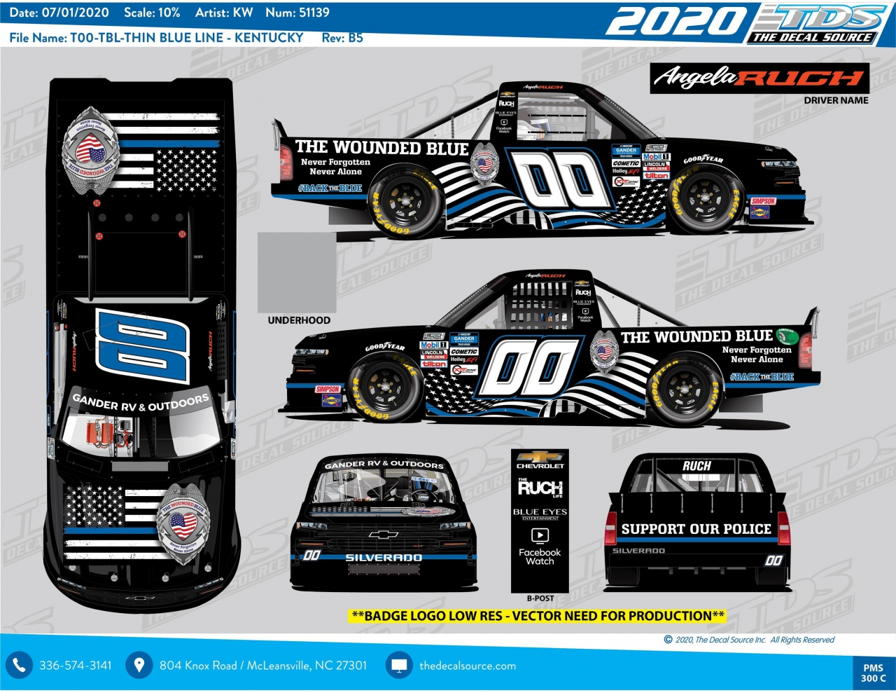 Angela Ruch - The Wounded Blue paint scheme - NASCAR Truck Series