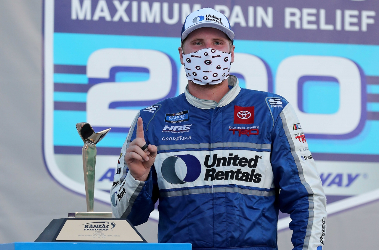 Austin Hill in victory lane at Kansas Speedway - NASCAR Truck Series