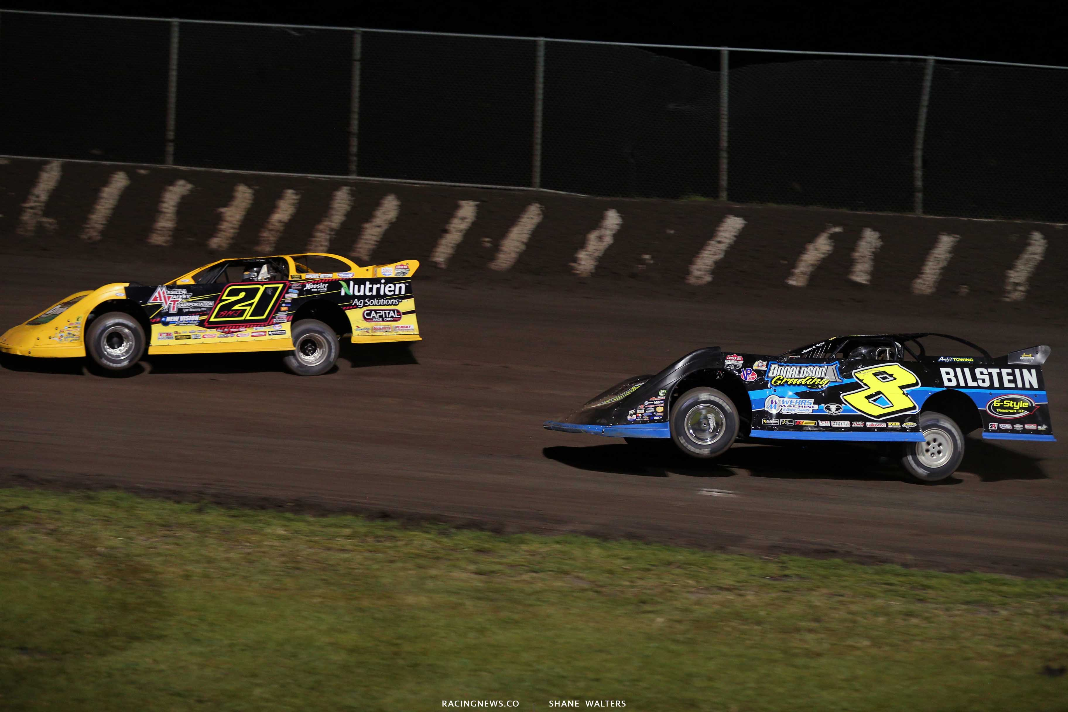 Billy Moyer Jr and Kyle Strickler at Tri-City Speedway - Lucas Oil Late Models 8964