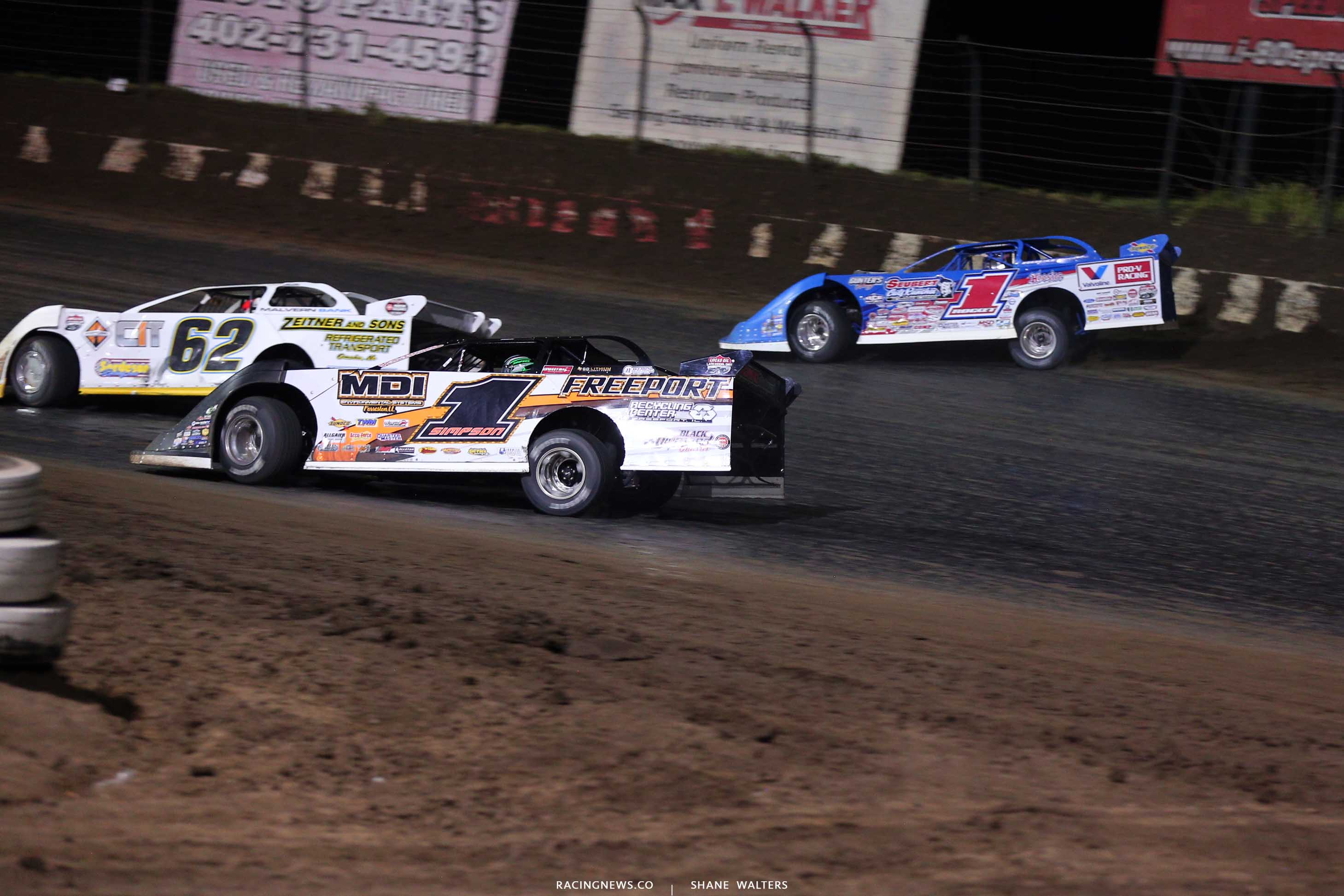 Chad SImpson and Brandon Sheppard in the Silver Dollar Nationals at I-80 Speedway - Dirt Track Racing 0526